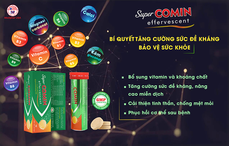 Supercomin Effervescent chứa hàng loạt Vitamin &khoáng chất quan trọng
